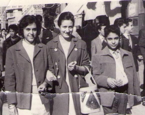 Alicia, una amiga, y Pedro Félix en Granada, 1959
