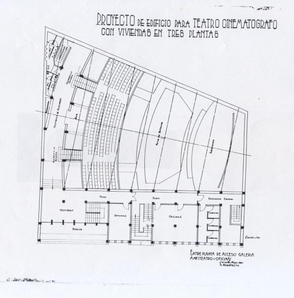 Proyecto Cine - Entreplanta de acceso, galería y oficinas - 1955 - APAB