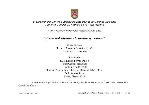 PRESENTACION LIBRO GENERAL SILVESTRE
