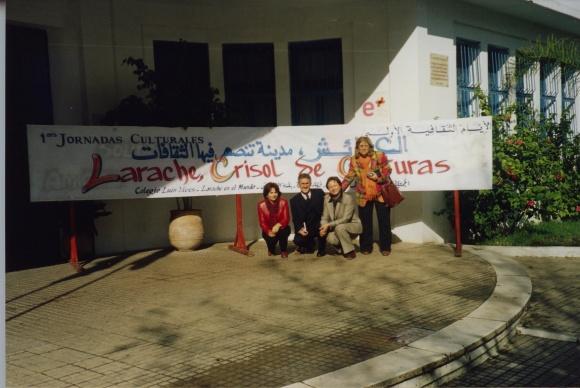 Colegio Luis Vives - Sergio barce con Ange Ramíres, Antia y Luisa Diéguez durante las Jornadas Culturales de 2004
