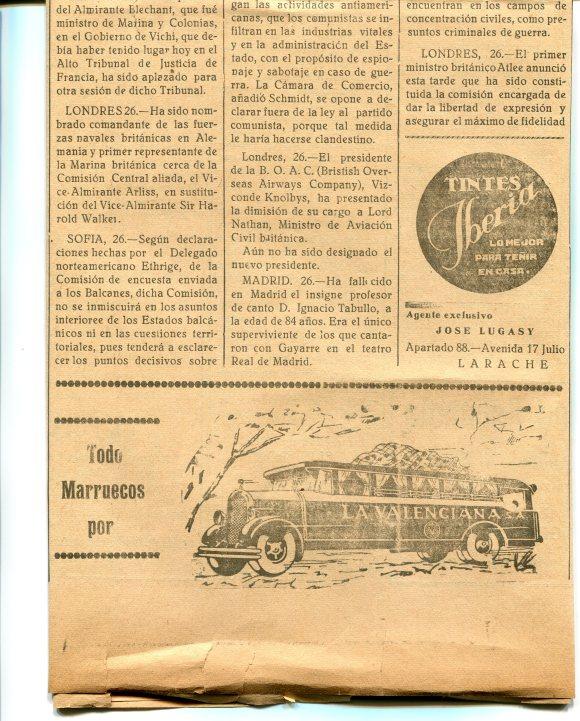 ANUNCIO LA VALENCIANA 1947