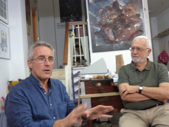 junto al pintor larachense Paco Selva, integrante del grupo Capitel