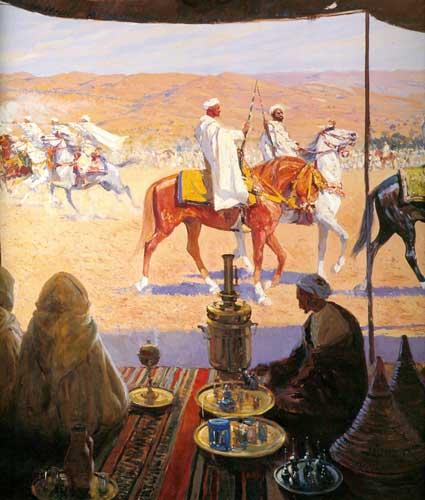 Corrida de la pólvora vista desde la tienda de un beduino, de Bertuchi