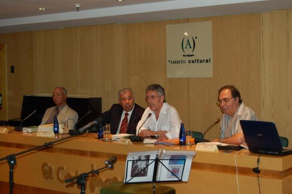 Málaga - Larache en Málaga, acto celebrado en Ambito Cultural, en 2007: Mohamed Sibari, Mohamed Akalay, Sergio Barce y Carlos Galea