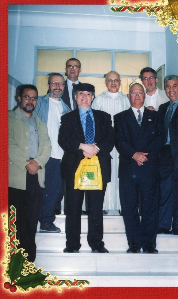 En Tánger - Mohamed Siberi y Mohamed Chakor, flanqueados por Mohamed Laabi, Mohamed Lahchiri, Bouisssef Rekab, Sergio Barce, Mohamed Akalay