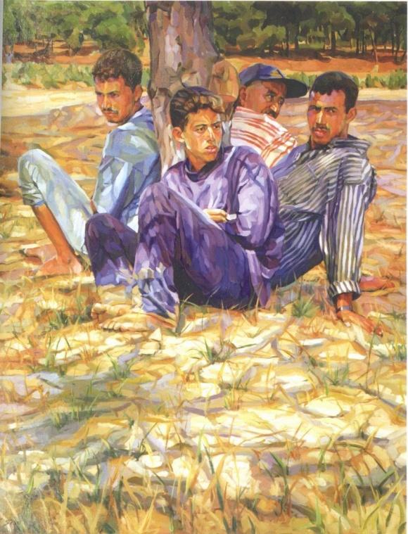 Hommage aux Haraga, obra del pintor larachense Rachid Sebti