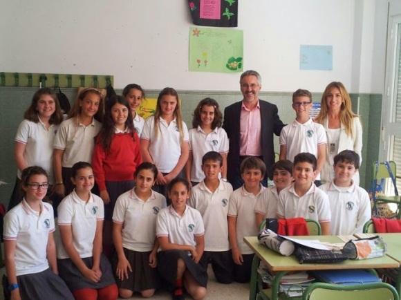 Con alumnos del Colegio Alborán