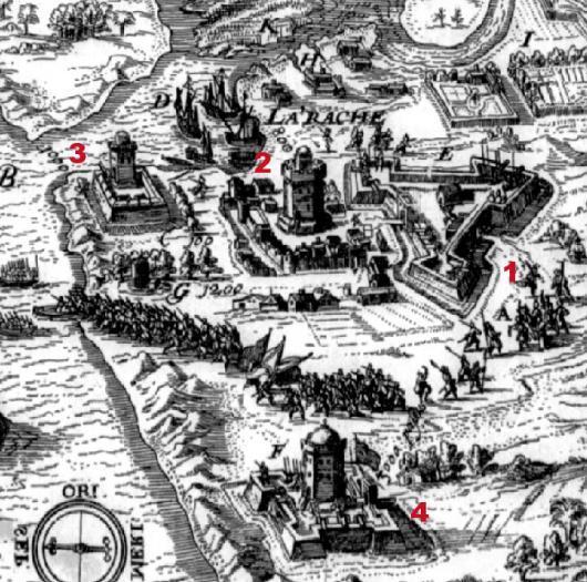 Mapa de Larache del siglo XVII - tomado de la página www.tercios.org