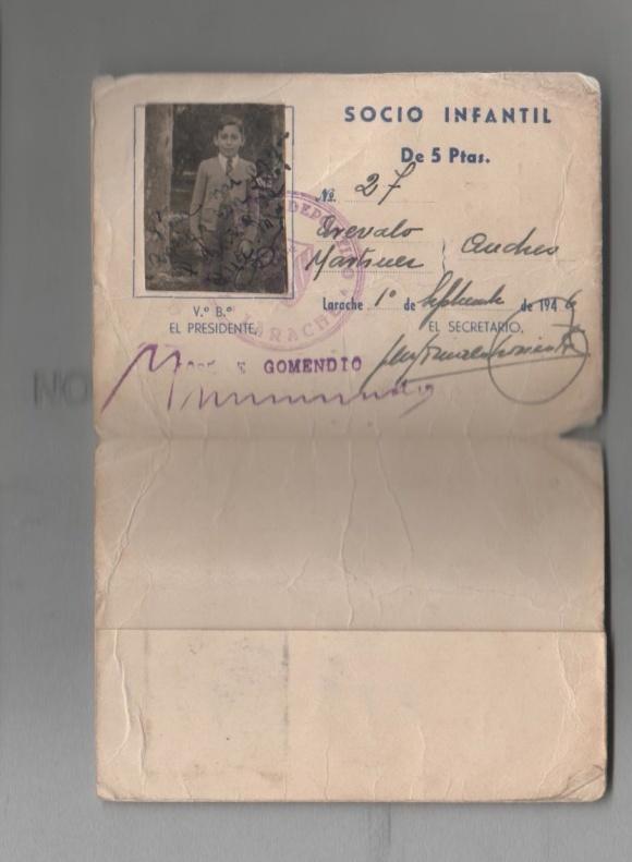 1946-09-01 Carnet Socio de AAM del PD Larache h 2 y 3 de 3