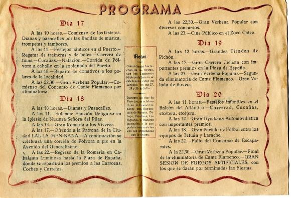 PROGRAMA FIESTAS DE LARACHE 1947 - 1