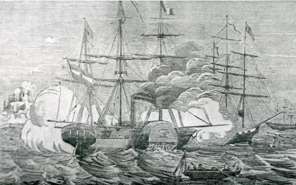 1860: el buque Isabel II bombardeando Larache