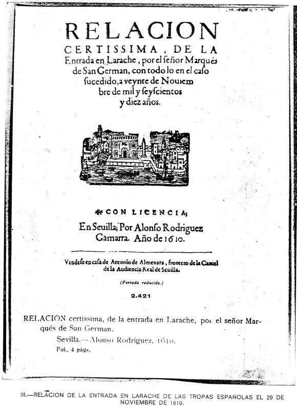 LARACHE - ENTRADA DEL MARQUES DE SAN GERMAN