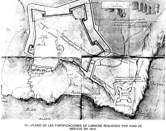 LARACHE - PLANO FORTIFICACIONES POR JUAN DE MEDICIS 1613