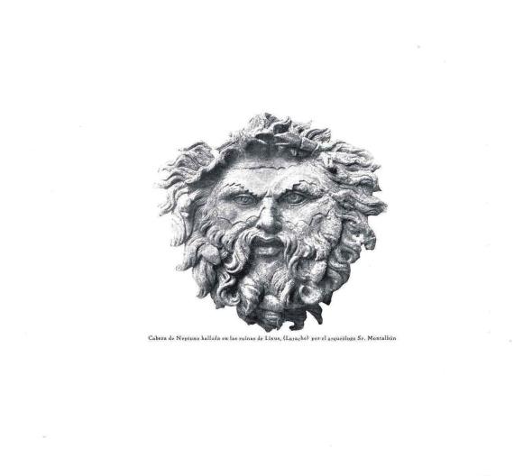 Cabeza de Neptuno. Ruinas de Lixus (Larache) Hallada por el arqueólogo Sr. Montalban. Revista África 01-11-1927. Museo Rabat
