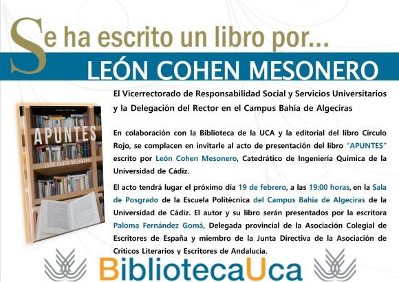 Cartel - Invitación Se ha escrito un libro por León Cohen Mesonero [A3]