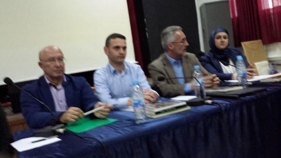 AHMED OUBALI, ABDELHALAK NAJMI, SERGIO BARCE y MARÍA SIBARI  en la presentación del libro de Larache
