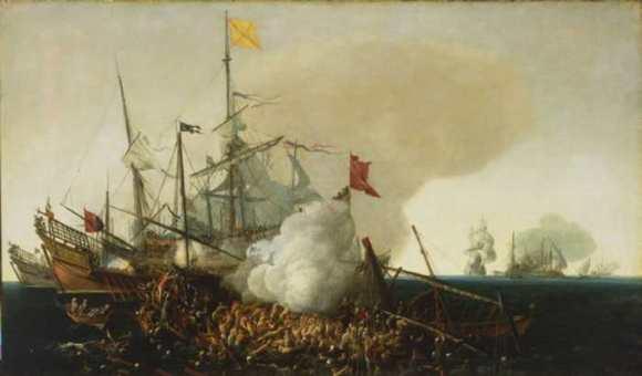 Galeones españoles luchando contra los piratas berberiscas, Cornelis Hendriksz Vroom, 1615