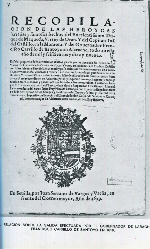 Salida del gobernador de Larache Carrillo de Santoyo 1619